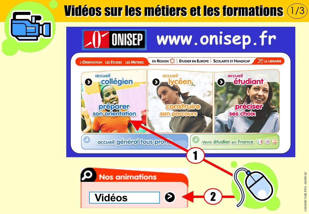 > Vidéos www.onisep.fr 1 2 Vidéos sur les métiers et les formations 1/3 CHOISIR VOIE PRO - DIAPO 62