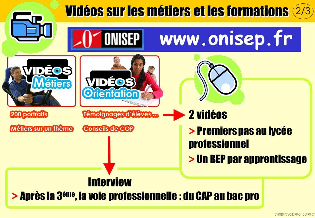 Vidéos sur les métiers et les formations www.onisep.fr 2 vidéos > Premiers pas au lycée professionnel > Un BEP par apprentissage Interview > Après la 3 ème, la voie professionnelle : du CAP au bac pro 2/3 CHOISIR VOIE PRO - DIAPO 63