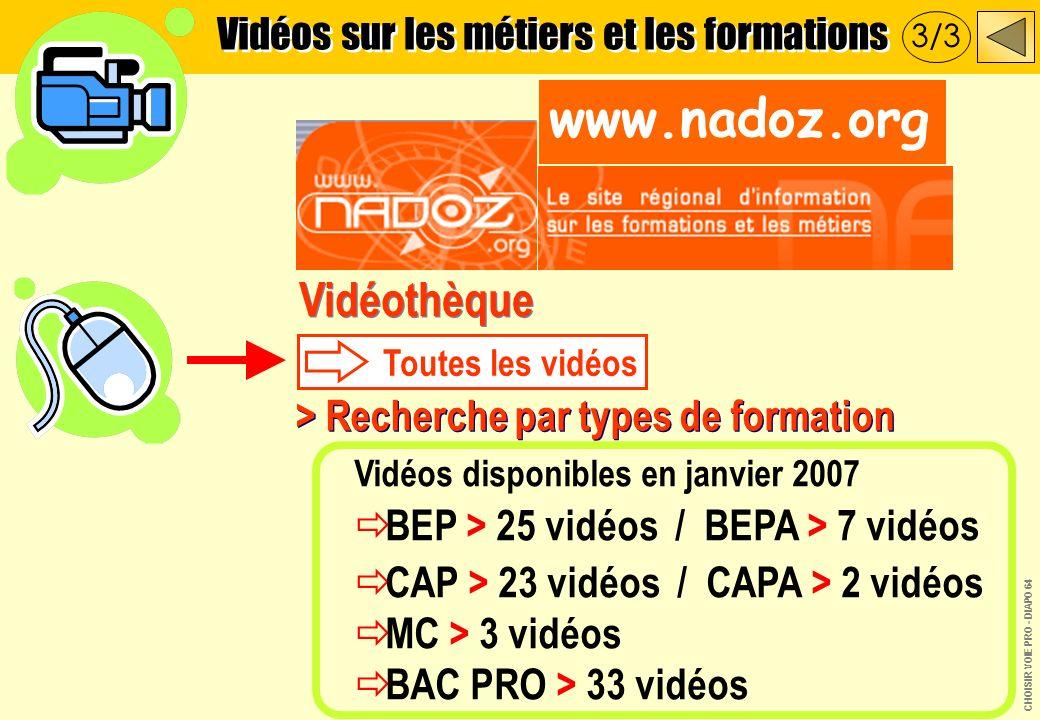 Vidéothèque Toutes les vidéos > Recherche par types de formation Vidéos disponibles en janvier 2007 BEP > 25 vidéos / BEPA > 7 vidéos CAP > 23 vidéos / CAPA > 2 vidéos MC > 3 vidéos BAC PRO > 33 vidéos www.nadoz.org Vidéos sur les métiers et les formations 3/3 CHOISIR VOIE PRO - DIAPO 64
