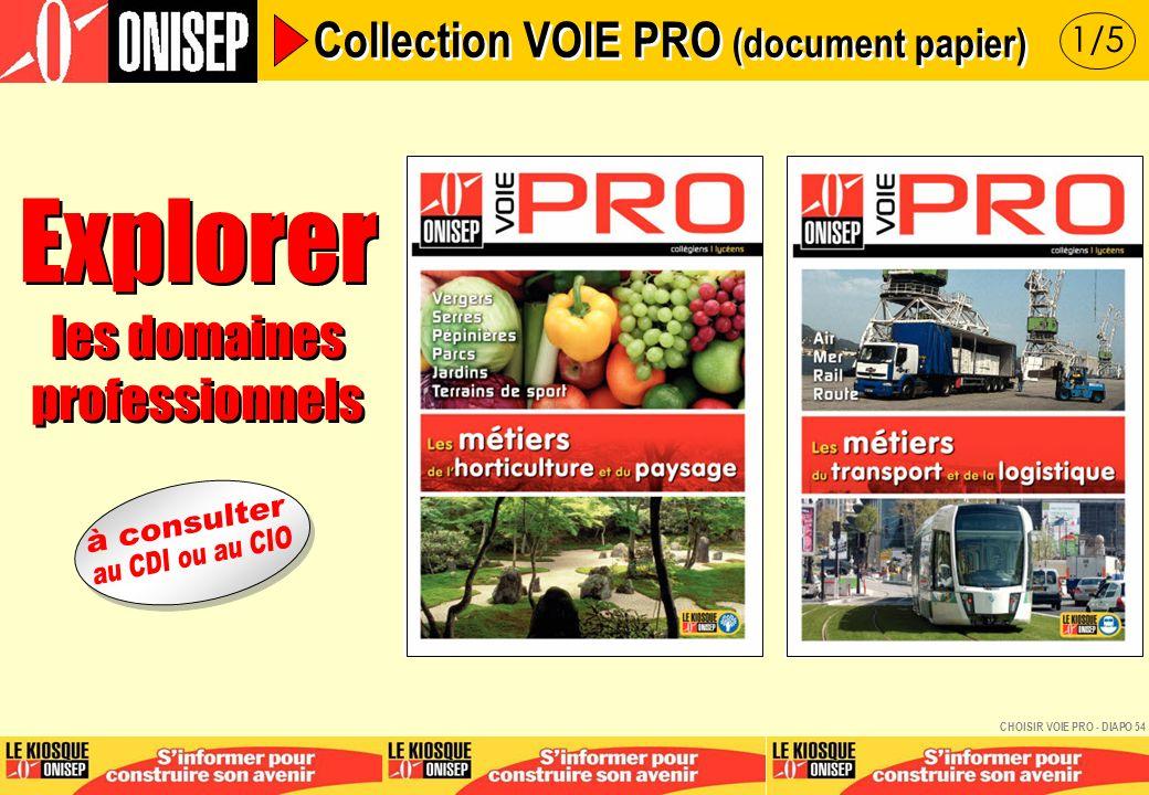 Explorer les domaines professionnels Explorer les domaines professionnels 1/5 Collection VOIE PRO (document papier) CHOISIR VOIE PRO - DIAPO 54