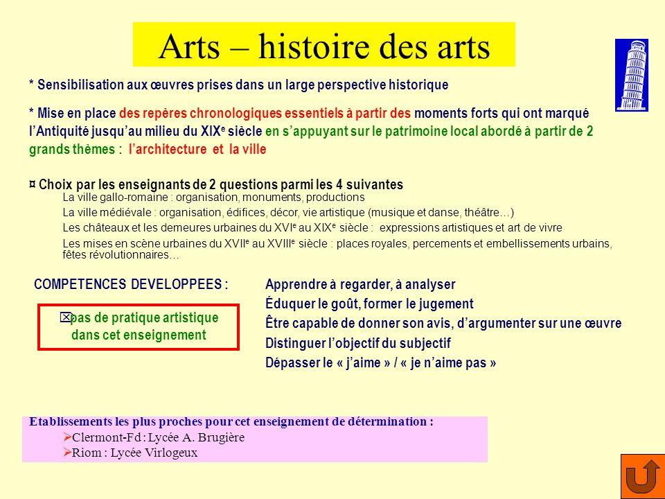 Pratique artistique : * découverte des moyens dexpression des émotions, des sentiments, des idées à travers le corps et le mouvement * apprentissage d