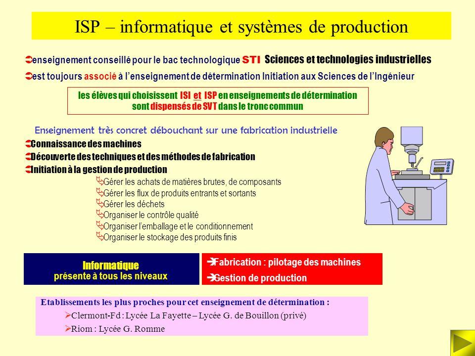 Au programme de ISI : les systèmes automatisés (définition, structure et objectifs) la partie opérative mécanismes (mobilité, liaisons…) constituants