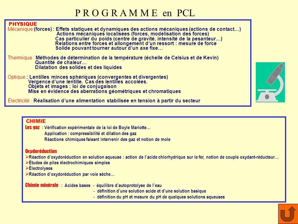 enseignement conseillé pour les bacs technologiques STL Physique de laboratoire et de procédés industriels STL Chimie de laboratoire et de procédés in