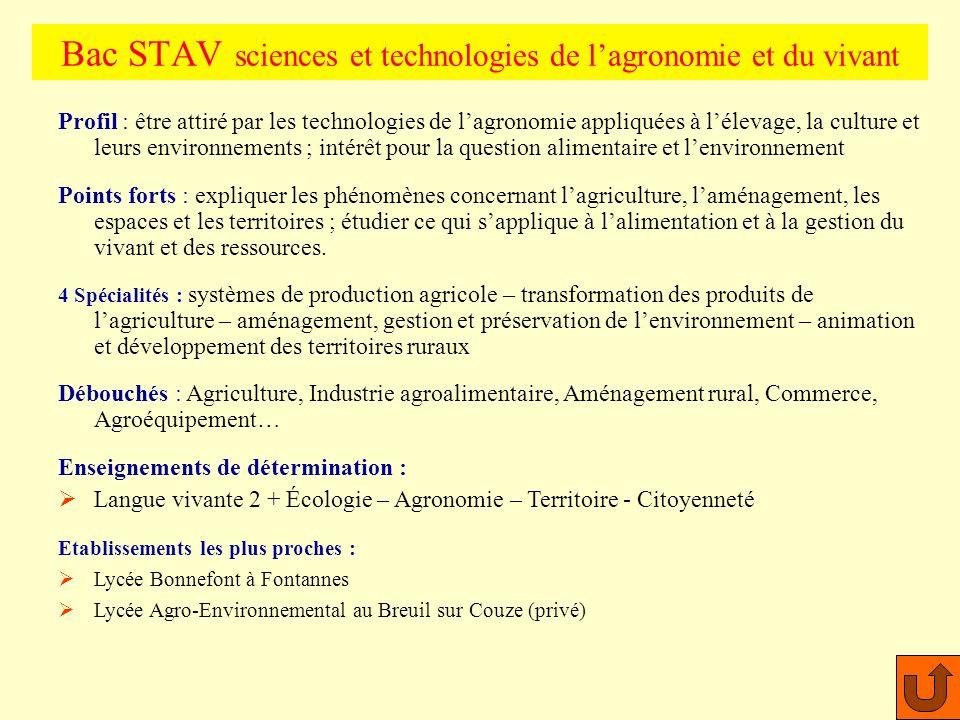 Profil : Aimer les expériences, les manipulations, le travail en laboratoire. Points forts : maths, chimie, biologie, biochimie, physique, technologie