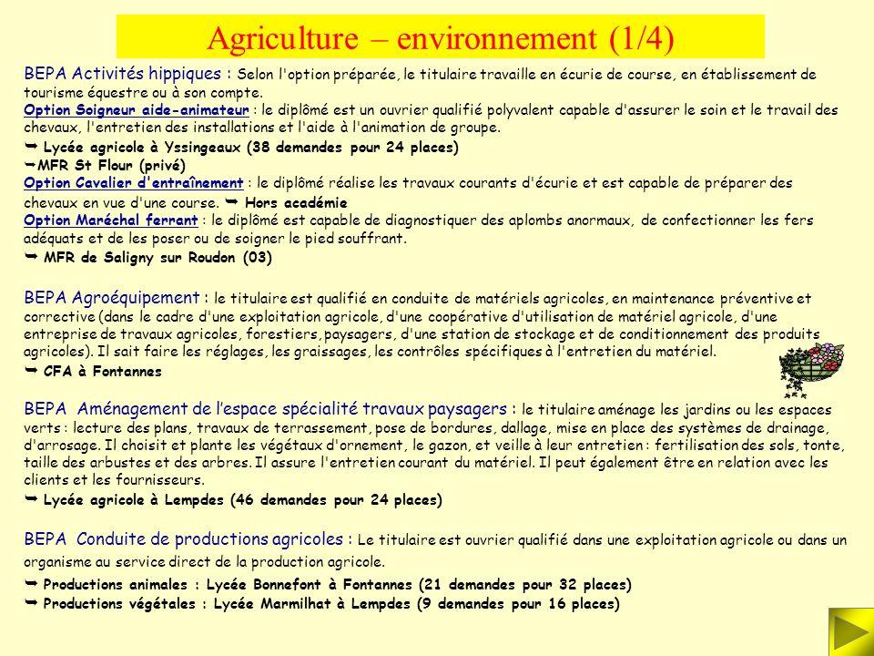 AGRICULTURE - ENVIRONNEMENT BATIMENT - TRAVAUX PUBLICS INDUSTRIE - ARTISANAT TERTIAIRE - SERVICES AGRICULTURE - ENVIRONNEMENT BATIMENT - TRAVAUX PUBLI