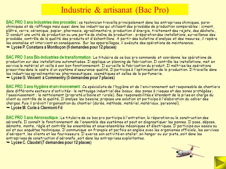 Industrie & artisanat (Bac Pro) BAC PRO 3 ans Etude et Définition de Produits Industriels : Ce bac pro prépare à des fonctions de technicien de bureau