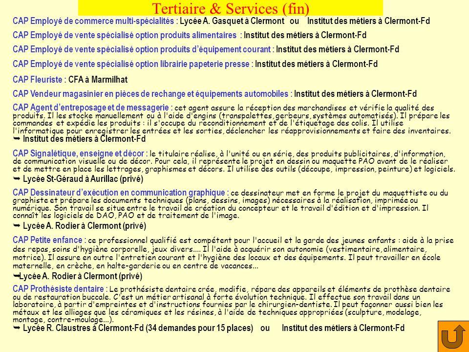 Tertiaire & Services (CAP) CAP Coiffure : Lycée M. Curie (156 demandes pour 35 places) ou Lycée R. Rambaud (privé) ou CFA CAP Esthétique-cosmétique :