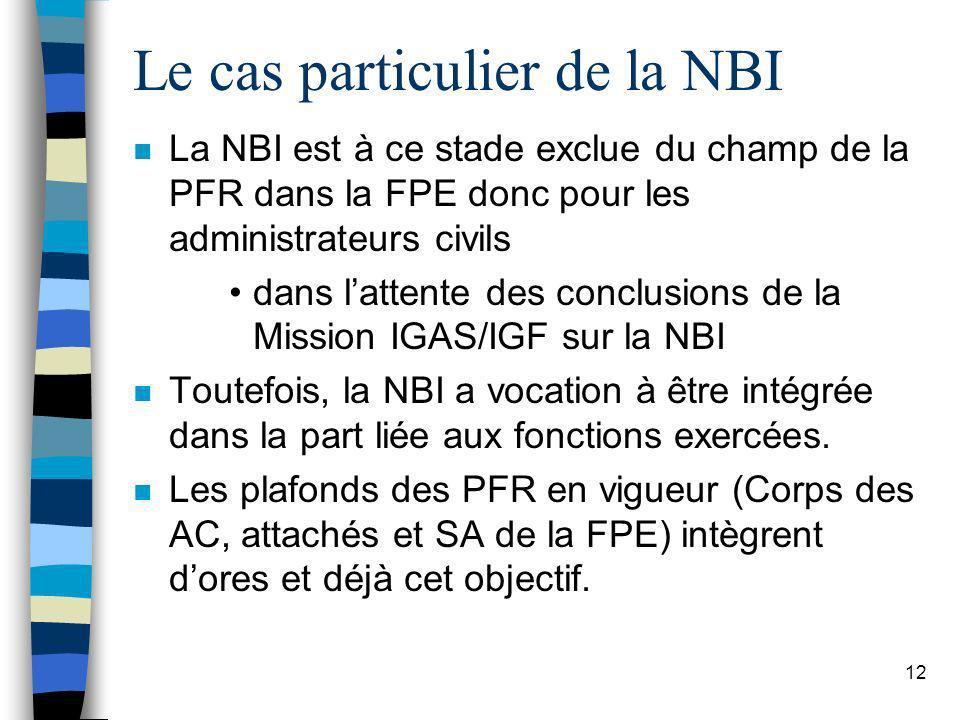 12 Le cas particulier de la NBI n La NBI est à ce stade exclue du champ de la PFR dans la FPE donc pour les administrateurs civils dans lattente des c
