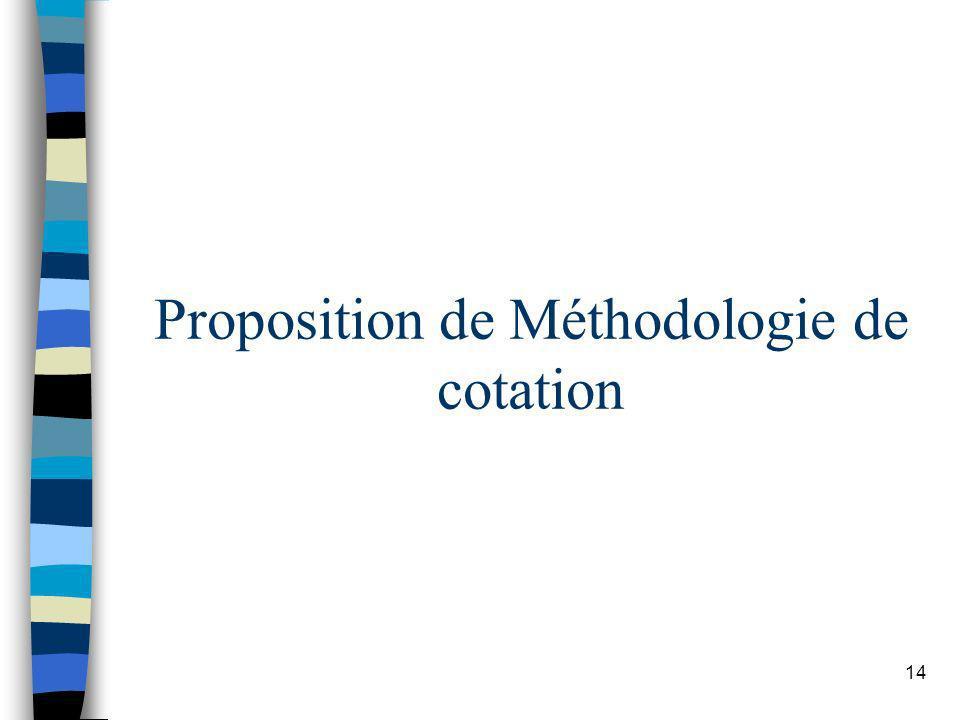 14 Proposition de Méthodologie de cotation