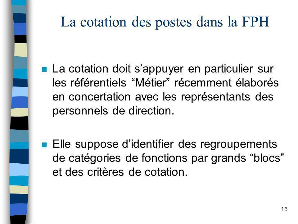 15 La cotation des postes dans la FPH n La cotation doit sappuyer en particulier sur les référentiels Métier récemment élaborés en concertation avec l