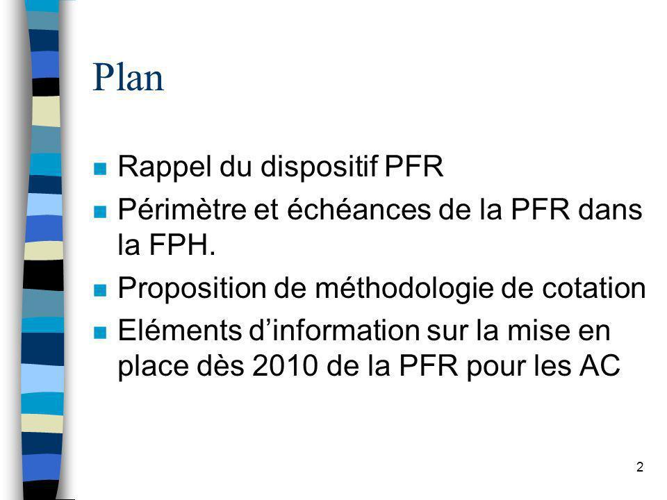 2 Plan n Rappel du dispositif PFR n Périmètre et échéances de la PFR dans la FPH. n Proposition de méthodologie de cotation n Eléments dinformation su