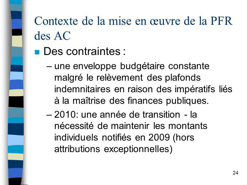 24 Contexte de la mise en œuvre de la PFR des AC n Des contraintes : –une enveloppe budgétaire constante malgré le relèvement des plafonds indemnitair