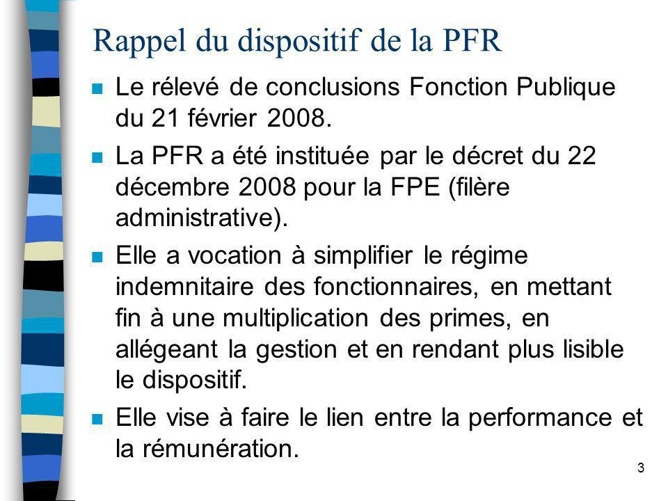 3 Rappel du dispositif de la PFR n Le rélevé de conclusions Fonction Publique du 21 février 2008. n La PFR a été instituée par le décret du 22 décembr