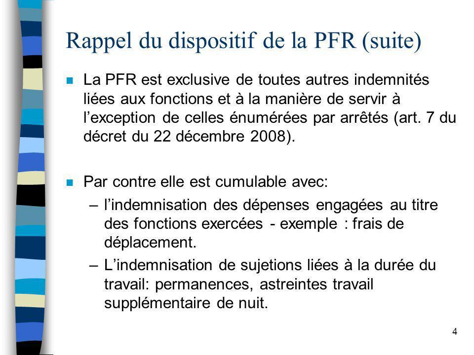 4 Rappel du dispositif de la PFR (suite) n La PFR est exclusive de toutes autres indemnités liées aux fonctions et à la manière de servir à lexception