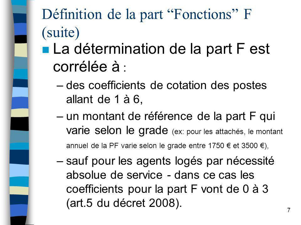 7 Définition de la part Fonctions F (suite) n La détermination de la part F est corrélée à : –des coefficients de cotation des postes allant de 1 à 6,
