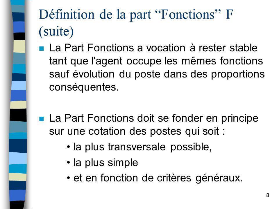 8 Définition de la part Fonctions F (suite) n La Part Fonctions a vocation à rester stable tant que lagent occupe les mêmes fonctions sauf évolution d