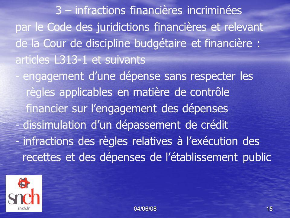 04/06/0815 3 – infractions financières incriminées par le Code des juridictions financières et relevant de la Cour de discipline budgétaire et financi