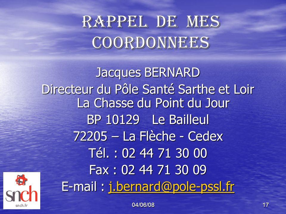 04/06/0817 RAPPEL DE MES COORDONNEES Jacques BERNARD Directeur du Pôle Santé Sarthe et Loir La Chasse du Point du Jour BP 10129 Le Bailleul 72205 – La
