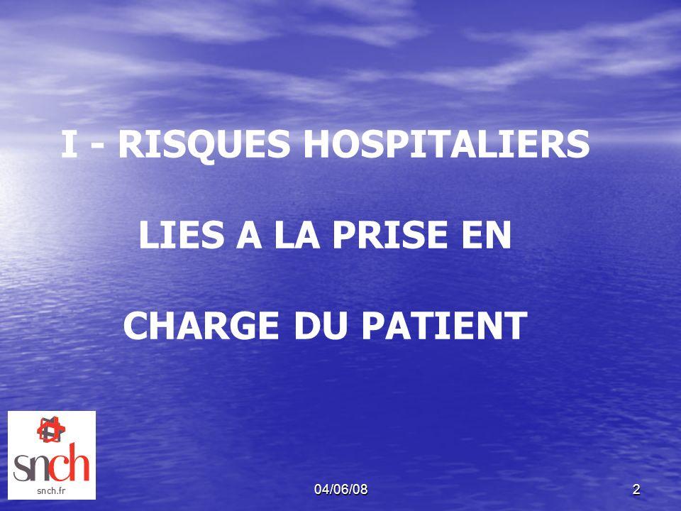 04/06/082 I - RISQUES HOSPITALIERS LIES A LA PRISE EN CHARGE DU PATIENT