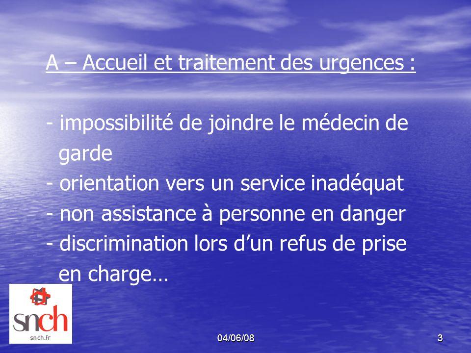 04/06/083 A – Accueil et traitement des urgences : - impossibilité de joindre le médecin de garde - orientation vers un service inadéquat - non assist