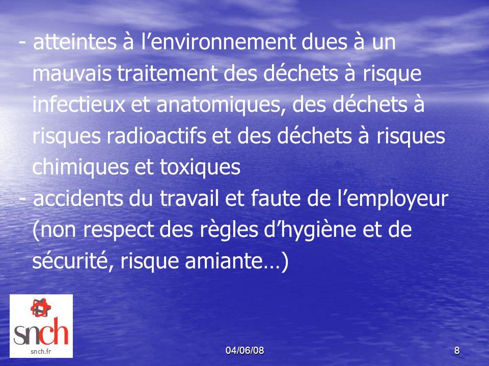 04/06/088 - atteintes à lenvironnement dues à un mauvais traitement des déchets à risque infectieux et anatomiques, des déchets à risques radioactifs