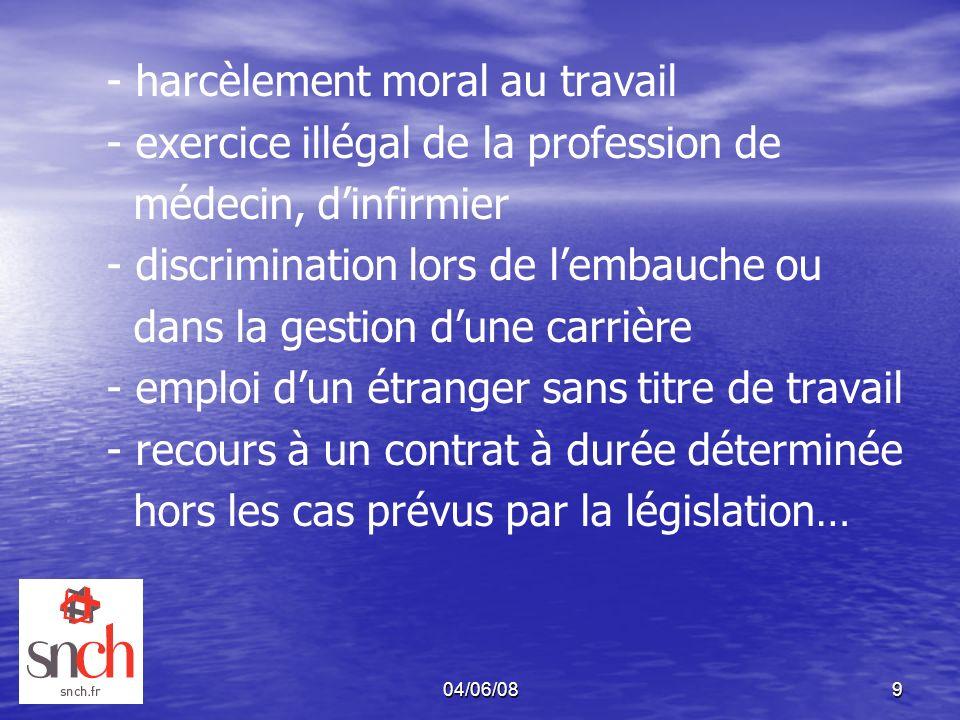04/06/089 - harcèlement moral au travail - exercice illégal de la profession de médecin, dinfirmier - discrimination lors de lembauche ou dans la gest