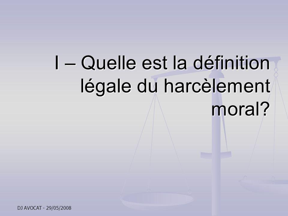 DJ AVOCAT - 29/05/2008 La sanction du harcèlement moral Les sanctions prononcées par le juge pénal Les sanctions prononcées par le juge pénal La sanction pénale du harcèlement moral prévue par la loi de modernisation sociale est un an demprisonnement et de 15.000 euros damende (article 170 de la loi et 222-33-2 du Code pénal) La sanction pénale du harcèlement moral prévue par la loi de modernisation sociale est un an demprisonnement et de 15.000 euros damende (article 170 de la loi et 222-33-2 du Code pénal) Le juge pénal peut en outre condamner laccusé à verser des dommages et intérêts à la victime directe du harcèlement et aux victimes par ricochet, ainsi quordonner la publication de sa décision dans la presse Le juge pénal peut en outre condamner laccusé à verser des dommages et intérêts à la victime directe du harcèlement et aux victimes par ricochet, ainsi quordonner la publication de sa décision dans la presse