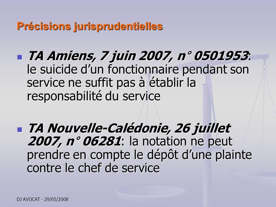 DJ AVOCAT - 29/05/2008 Précisions jurisprudentielles TA Amiens, 7 juin 2007, n° 0501953: le suicide dun fonctionnaire pendant son service ne suffit pa