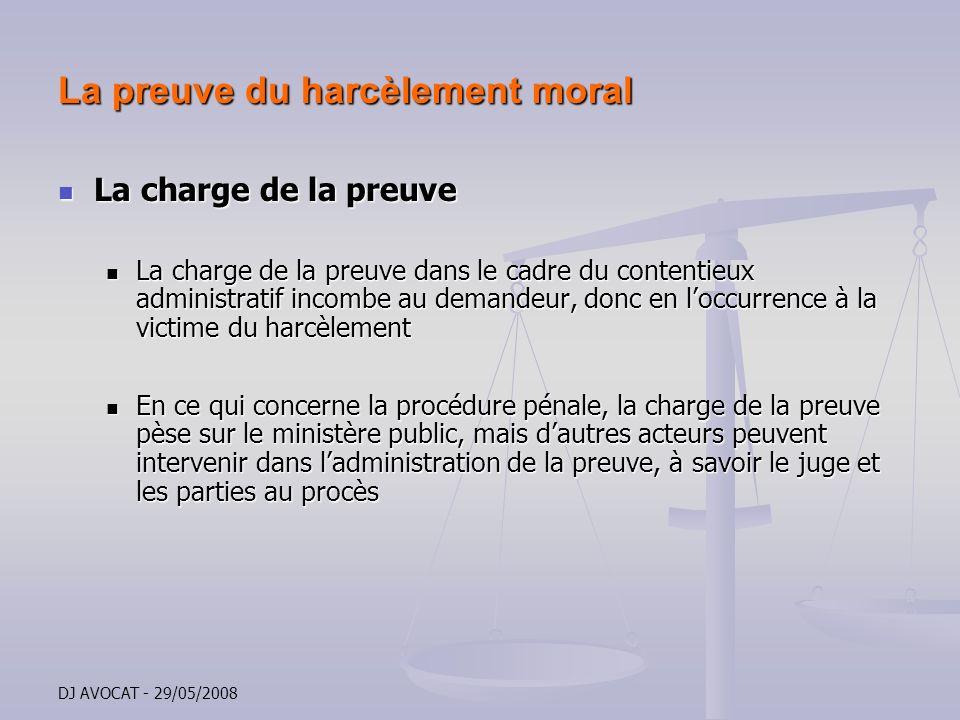 DJ AVOCAT - 29/05/2008 La preuve du harcèlement moral La charge de la preuve La charge de la preuve La charge de la preuve dans le cadre du contentieu