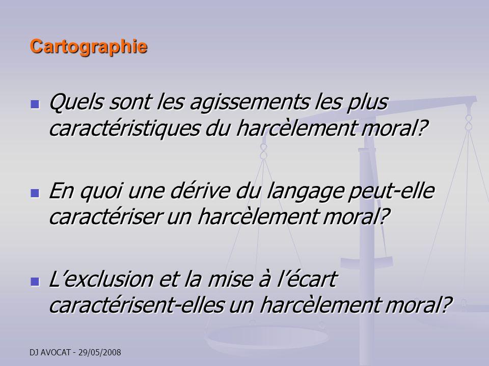 DJ AVOCAT - 29/05/2008 Cartographie Quels sont les agissements les plus caractéristiques du harcèlement moral? Quels sont les agissements les plus car
