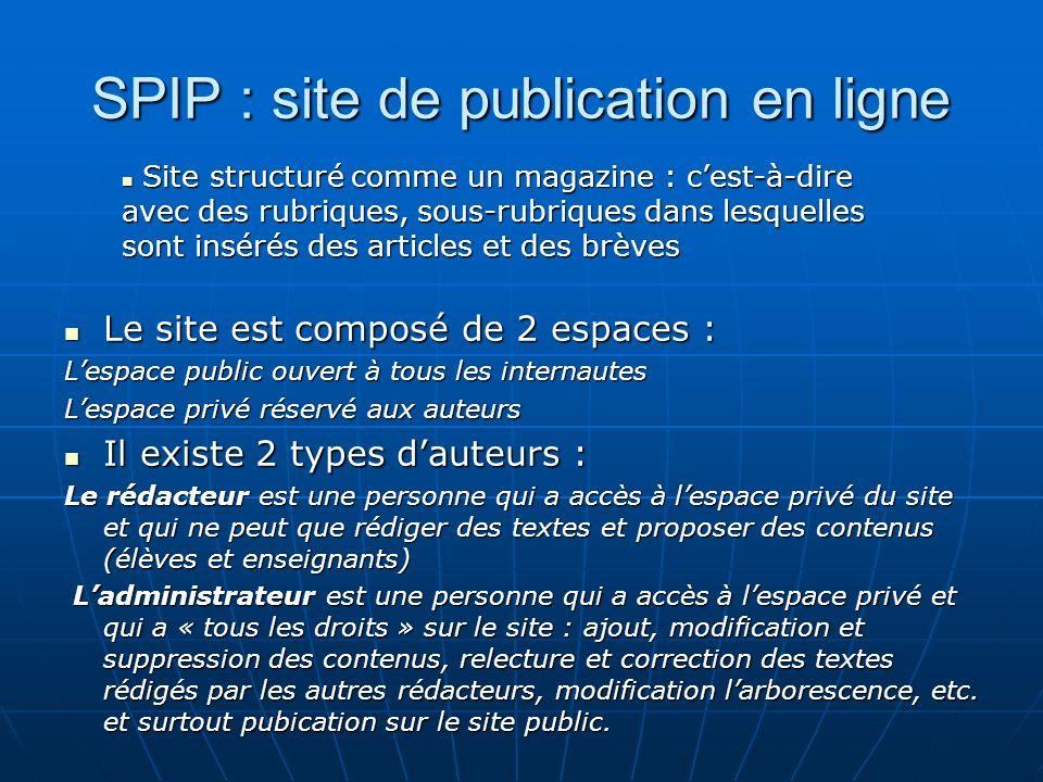 SPIP : site de publication en ligne Le site est composé de 2 espaces : Le site est composé de 2 espaces : Lespace public ouvert à tous les internautes
