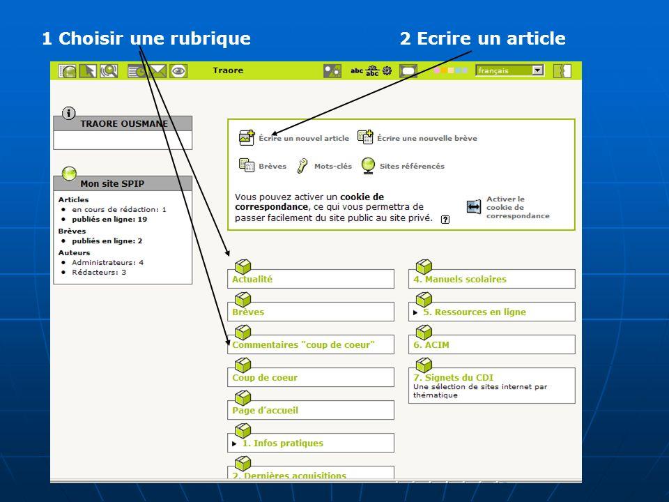 1 Choisir une rubrique2 Ecrire un article