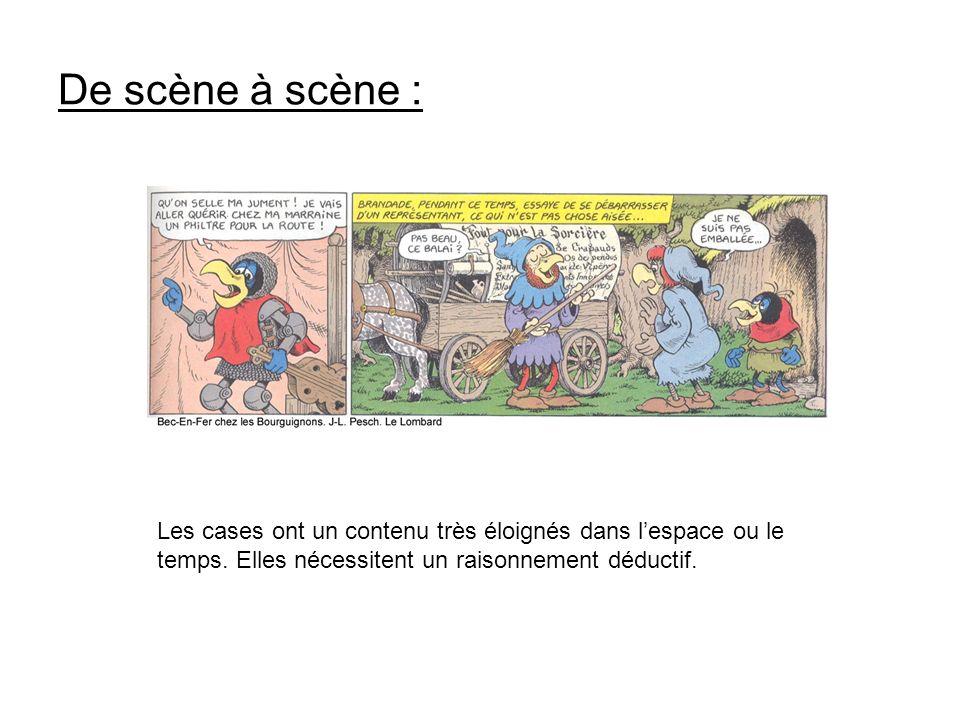 De scène à scène : Les cases ont un contenu très éloignés dans lespace ou le temps. Elles nécessitent un raisonnement déductif.