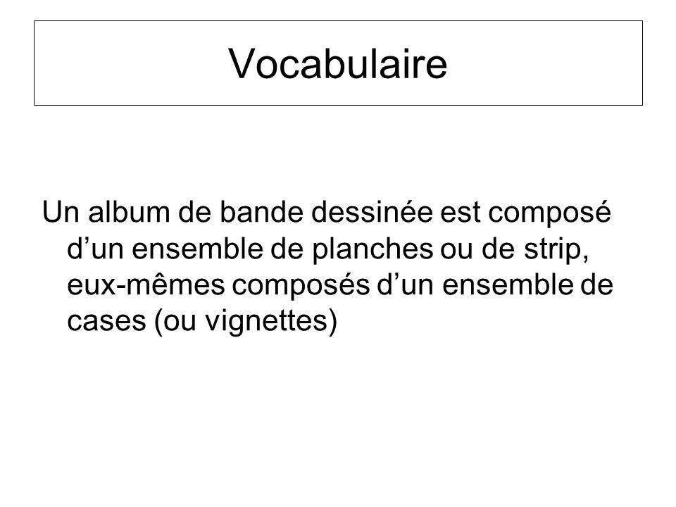Vocabulaire Un album de bande dessinée est composé dun ensemble de planches ou de strip, eux-mêmes composés dun ensemble de cases (ou vignettes)