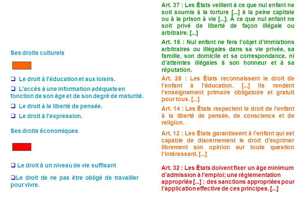 Fiche sur la Convention Internationale des Droits de lEnfant Coloriez de couleurs différentes les cases figurant dans la colonne de gauche, puis coloriez: suivant ce code de couleurs chaque article cité dans lencadré.