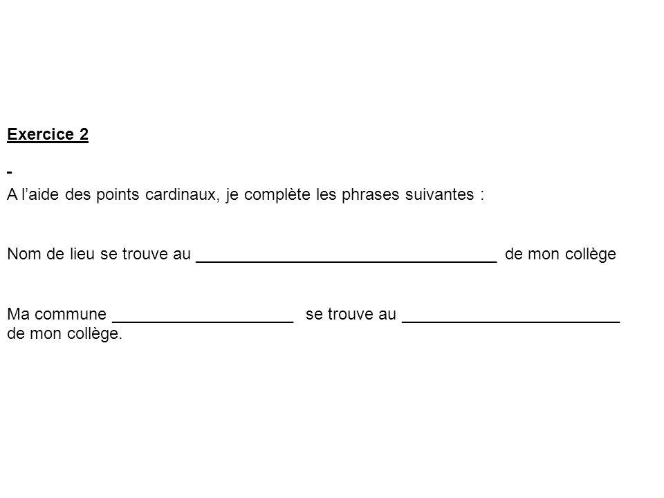 Exercice 2 A laide des points cardinaux, je complète les phrases suivantes : Nom de lieu se trouve au _________________________________ de mon collège