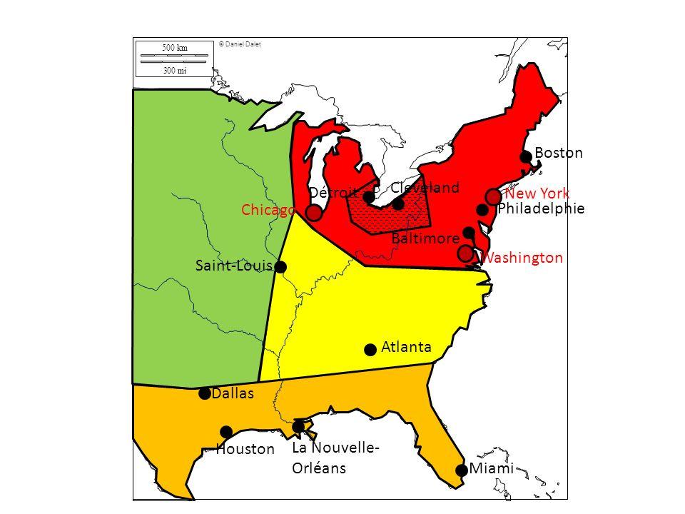 500 km 300 mi © Daniel Dalet Boston Philadelphie Baltimore Cleveland Détroit Saint-Louis Atlanta Dallas Houston La Nouvelle- Orléans Miami New York Wa