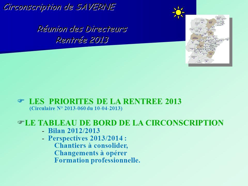 Circonscription de SAVERNE Réunion des Directeurs Rentrée 2013 LES PRIORITES DE LA RENTREE 2013 (Circulaire N° 2013-060 du 10-04-2013) LE TABLEAU DE B
