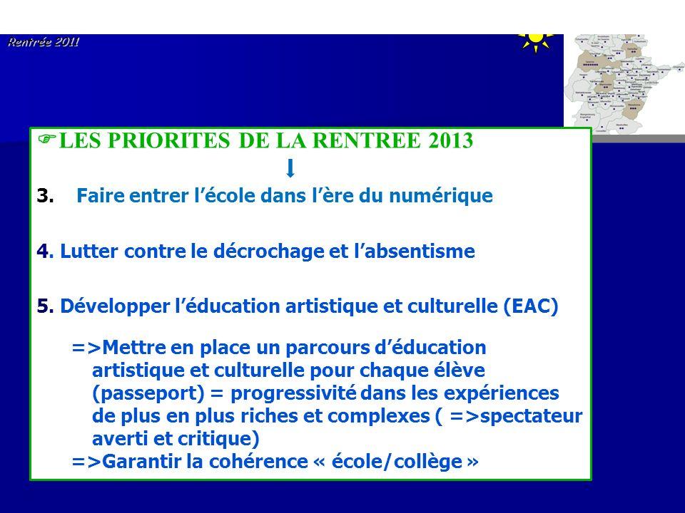 Circonscription de SAVERNE Réunion des Directeurs Rentrée 2011 LES PRIORITES DE LA RENTREE 2013 3. Faire entrer lécole dans lère du numérique 4. Lutte