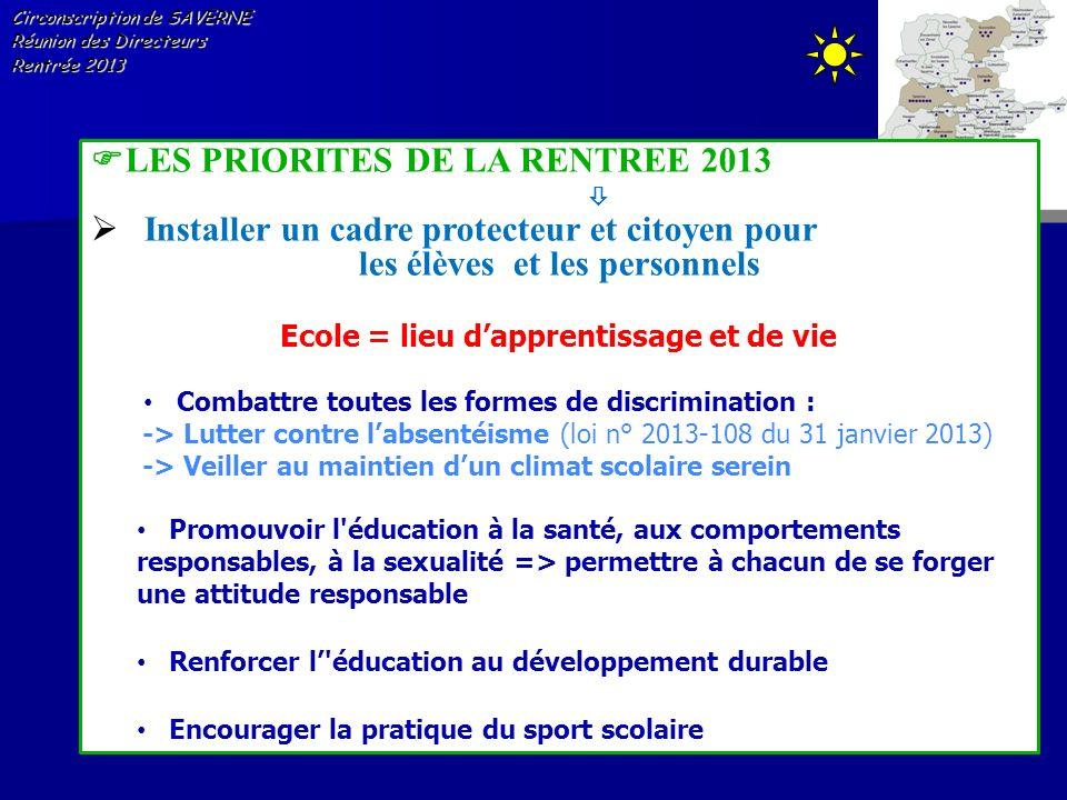 Circonscription de SAVERNE Réunion des Directeurs Rentrée 2013 LES PRIORITES DE LA RENTREE 2013 Installer un cadre protecteur et citoyen pour les élèv
