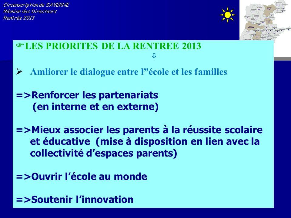 Circonscription de SAVERNE Réunion des Directeurs Rentrée 2013 LES PRIORITES DE LA RENTREE 2013 Amliorer le dialogue entre lécole et les familles =>Re