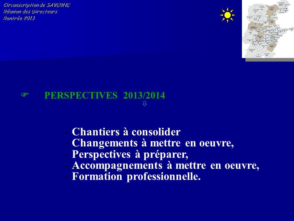 Circonscription de SAVERNE Réunion des Directeurs Rentrée 2013 PERSPECTIVES 2013/2014 -Chantiers à consolider -Changements à mettre en oeuvre, -Perspe