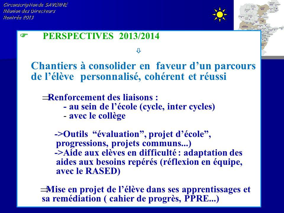 Circonscription de SAVERNE Réunion des Directeurs Rentrée 2013 PERSPECTIVES 2013/2014 Chantiers à consolider en faveur dun parcours de lélève personna