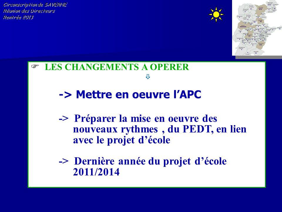 Circonscription de SAVERNE Réunion des Directeurs Rentrée 2013 LES CHANGEMENTS A OPERER -> Mettre en oeuvre lAPC -> Préparer la mise en oeuvre des nou