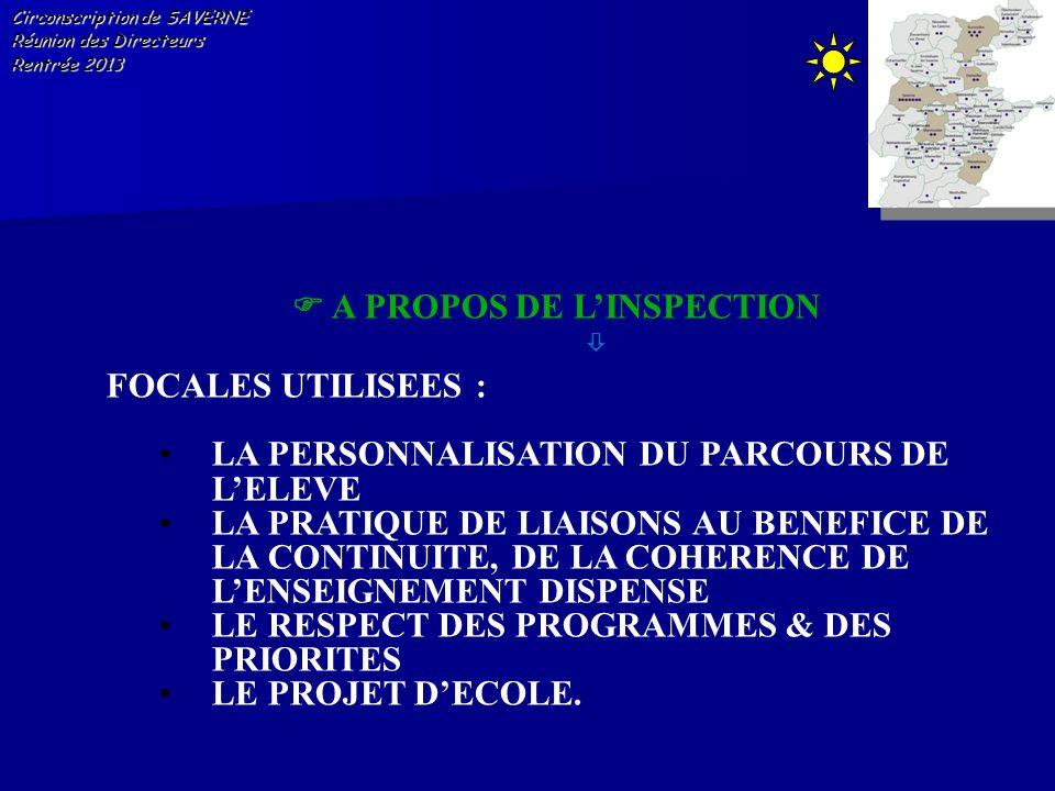 Circonscription de SAVERNE Réunion des Directeurs Rentrée 2013 A PROPOS DE LINSPECTION FOCALES UTILISEES : LA PERSONNALISATION DU PARCOURS DE LELEVE L