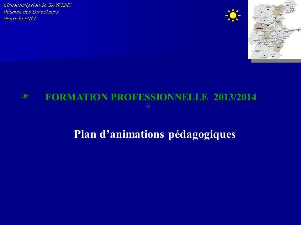 Circonscription de SAVERNE Réunion des Directeurs Rentrée 2013 FORMATION PROFESSIONNELLE 2013/2014 Plan danimations pédagogiques