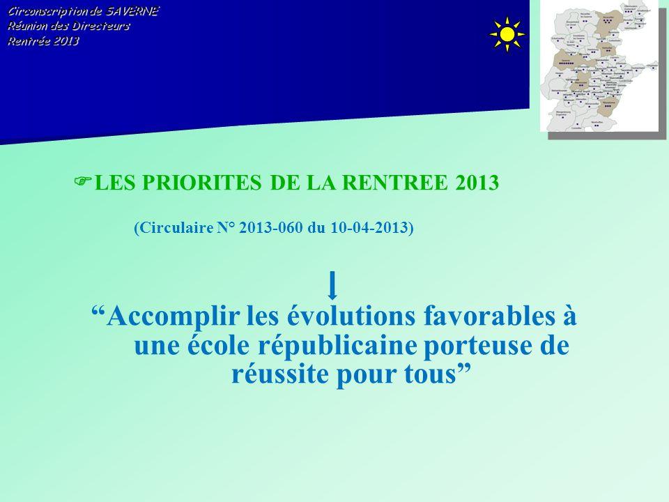 Circonscription de SAVERNE Réunion des Directeurs Rentrée 2013 LES PRIORITES DE LA RENTREE 2013 (Circulaire N° 2013-060 du 10-04-2013) Accomplir les é