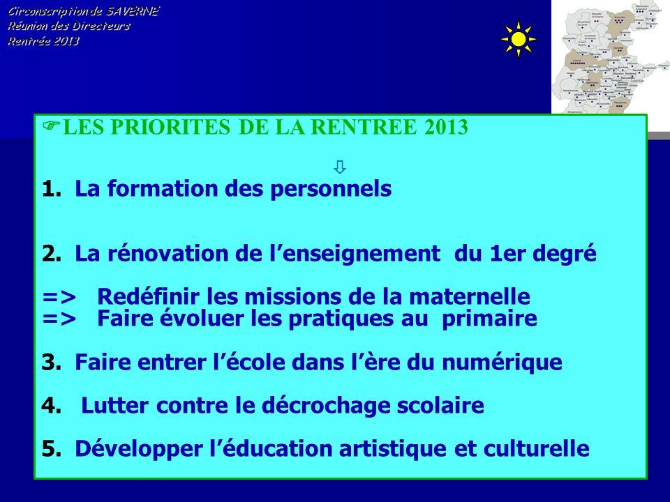 Circonscription de SAVERNE Réunion des Directeurs Rentrée 2013 LES PRIORITES DE LA RENTREE 2013 1.La formation des personnels 2.La rénovation de lense
