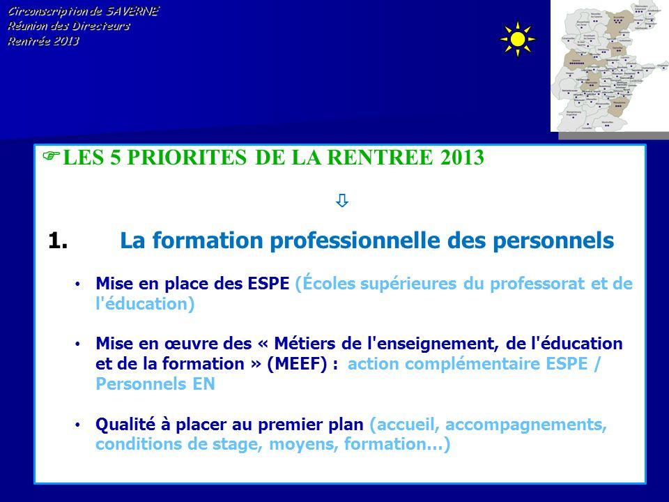 Circonscription de SAVERNE Réunion des Directeurs Rentrée 2013 LES 5 PRIORITES DE LA RENTREE 2013 1.La formation professionnelle des personnels Mise e