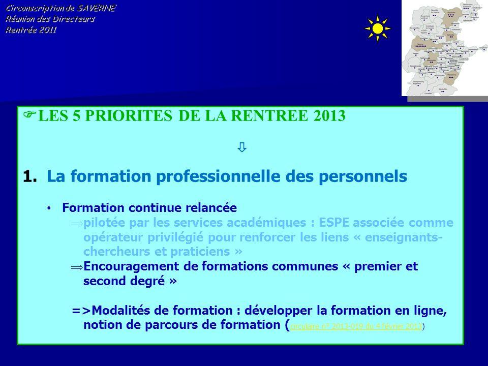 Circonscription de SAVERNE Réunion des Directeurs Rentrée 2011 LES 5 PRIORITES DE LA RENTREE 2013 1.La formation professionnelle des personnels Format